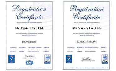 ISOをはじめ、多数の許認可を取得しています