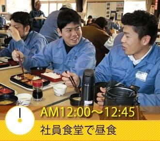 AM12:00〜12:45 社員食堂で昼食