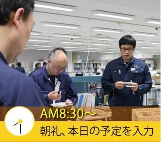 AM8:30〜 朝礼、本日の予定を入力