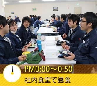 PM0:00〜0:50 社内食堂で昼食